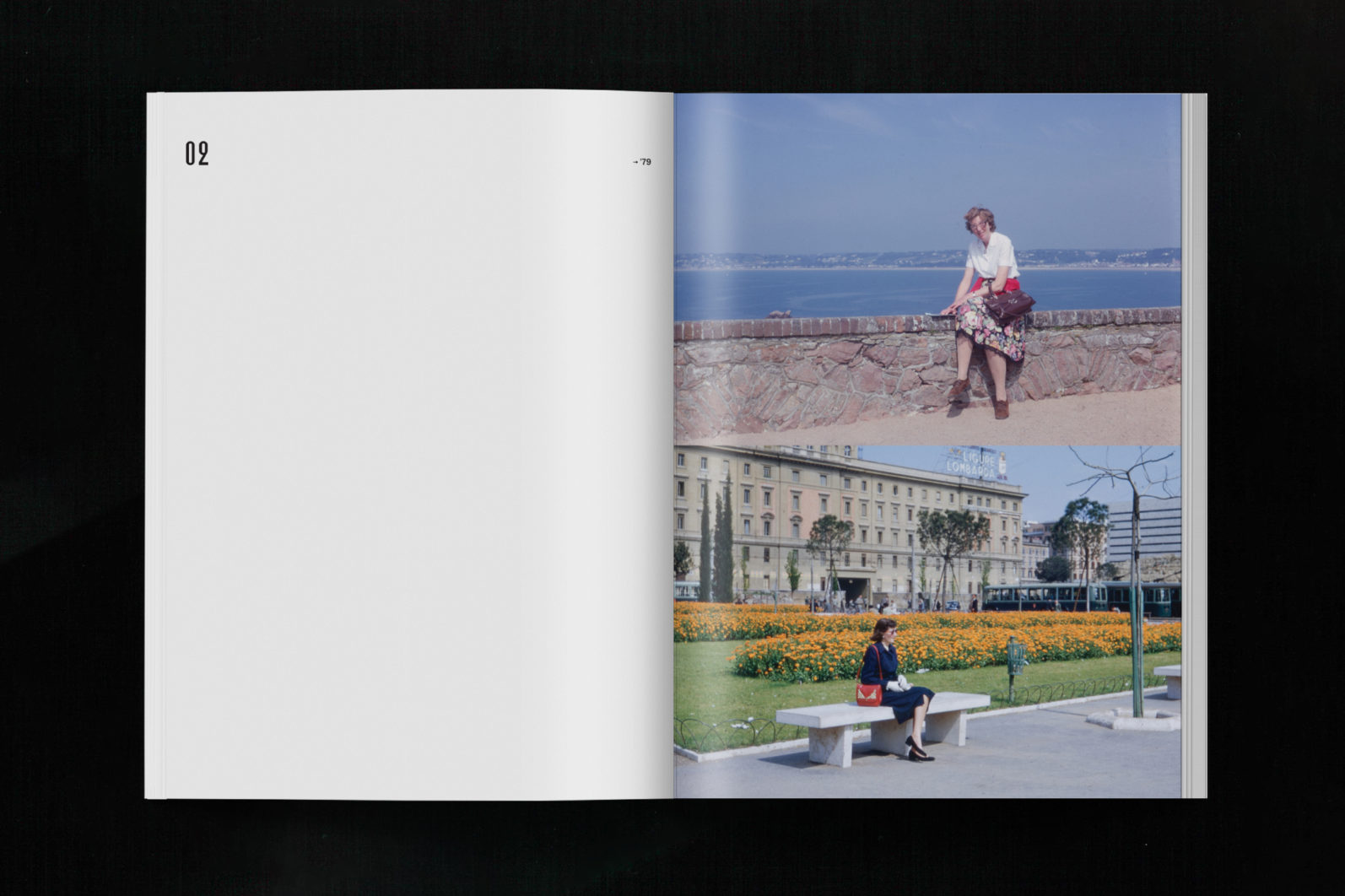 VACATIONIST spread showing two images, one of a woman seated on a beachfront ledge, and one seated on a park bench