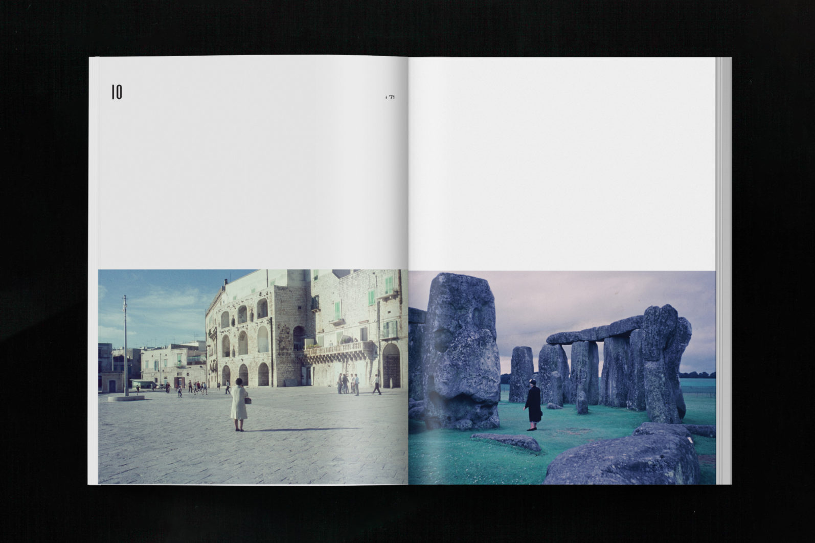 VACATIONIST spread showing two images of two women standing alone, one in a Roman square and one at Stonehenge